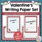 Valentine Writing Paper Set - Primary and Intermediate Line Spacing (21 papers)