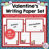 Writing Paper for Valentines Day in Various Line Spacings and Design Options