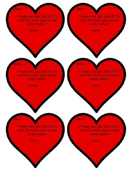 Valentines X's and O's for Students!