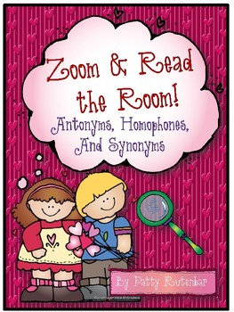 Valentines Zoom & Read the Room to Find Antonyms, Homophones, & Synonyms