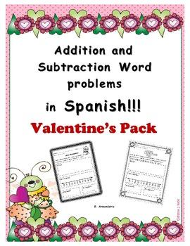 Valentine's addition & subtraction word problems in Spanish
