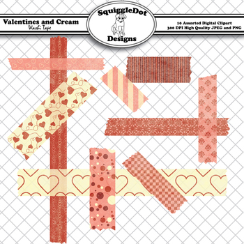 Valentines and Cream Washi Tape Clip Art