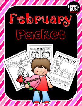 February Math, Literacy and Craft Packet