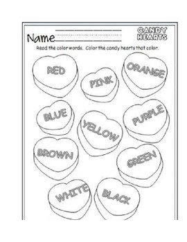 Valentines candy hearts coloring sheet
