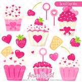 Valentines day Cupcakes, sweets Clipart Scrapbook printables vector clip art