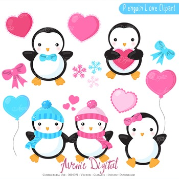Valentines day Penguins Clipart Scrapbook printables vector clip art