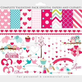 Valentine's day clipart - love clip art romantic pink hearts arrows birds owls