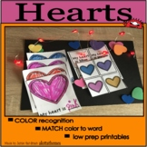 Valentines day color activities