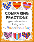 Valentine's day coloring math - comparing fractions and equivalent fractions