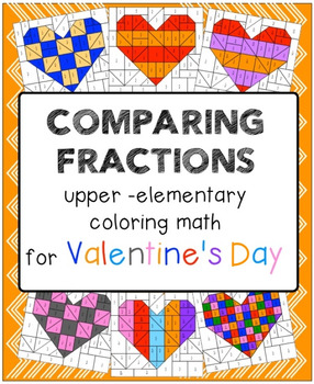 Valentine's day coloring math - comparing fractions and eq