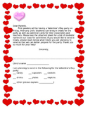 Valentines day letter - note home - party - Letter home  - editable