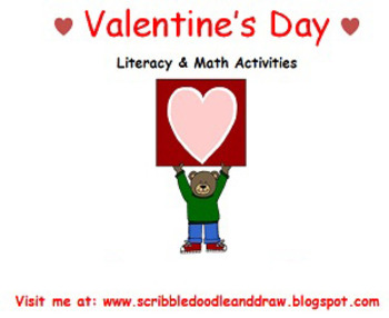 Valentine's day literacy and math activities for prek and kindergarten