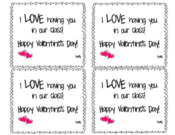Valentines for Students (4 to a page)