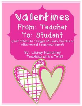 Valentines from the teacher {Freebie!}