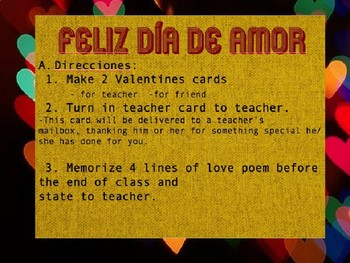 Valentines in Spanish Class/ El día de amor