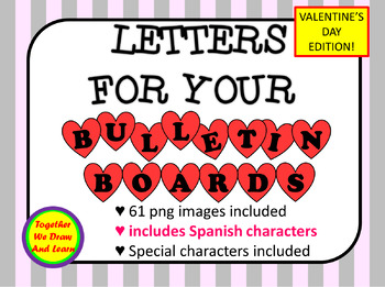 Valentines letters in hearts clip art