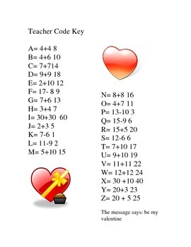 Valentine's math facts practice