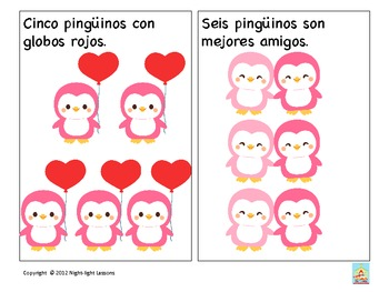 Valentine's penguin Spanish counting activity: Numbers 1-10