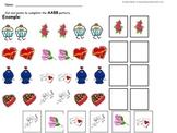 Valentines themed math patterning worksheet pack
