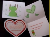 Valentines with Frog and Hearts for Class
