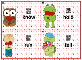 Valentines with Verbs Scoot Game using QR Codes to Self-Correct
