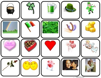 Valentines/St. Patricks Day Words/Memory Game/Flashcards for Autism