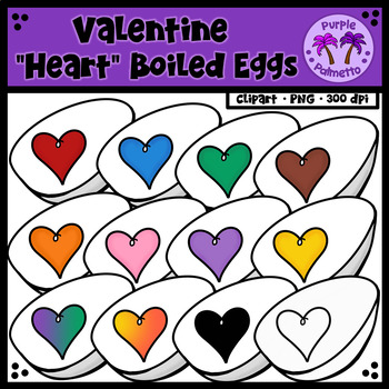 "Easter ""Heart"" Boiled Eggs Clipart"