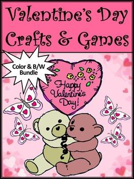 Valentine's Day Activities: Valentine's Day Crafts & Games Activity Packet