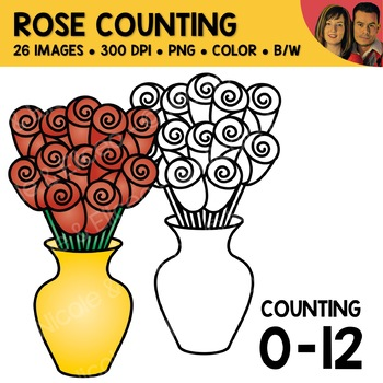Valetines Day Counting Scene Clipart Bundle