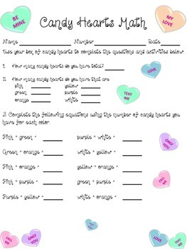 Valetine's Day Math Activity with conversation hearts, primary edition