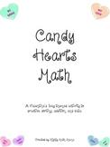 Valetine's Day Math Activity with conversation hearts, pri