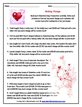 Valetine's Day Math Worksheet Super Pack