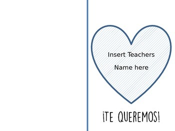 Valetines day cards or thank you cards to teachers in Spanish