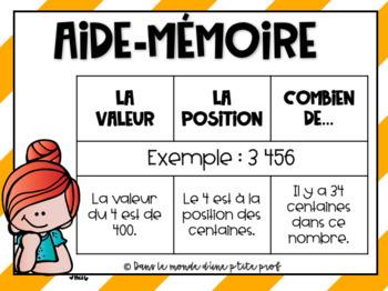 Valeur, position, combien de...? 3e année / French math task cards