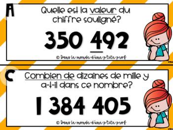 Valeur, position, combien de...? 5e année // French math task cards