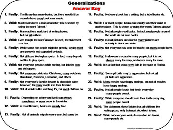 Valid and Faulty Generalizations Task Cards 3rd 4th 5th 6th Grade