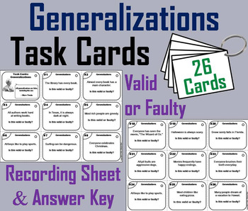 Generalization Valid Or Faulty Worksheets & Teaching Resources | TpT