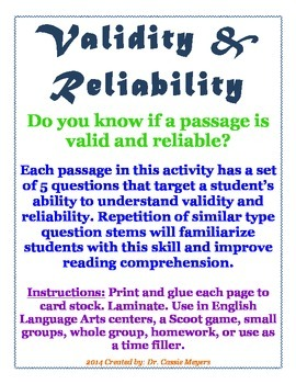 Validity & Reliability Passages with Questions