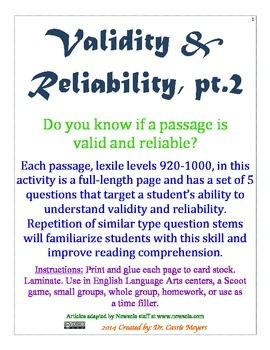 Validity & Reliability pt.2 Passages with Questions