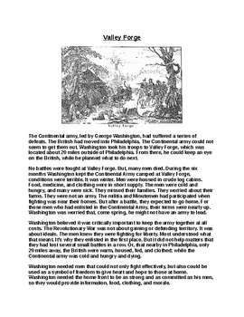 Valley Forge Article and Assignment