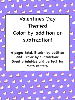 Valntines Day Color by Addition and Subtraction