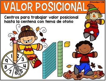 """Valor Posicional - 5 """"mats""""o centros para trabajar valor posicional (Otoño)"""