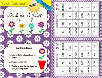 Valor Posicional -Place Value Task Cards -Unidades, deceans, centenas y millares