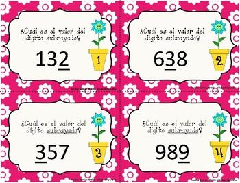 Valor Posicional - Place Value Task Cards - Unidades, decenas y centenas