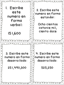 Valor Posicional/ Place Value in Spanish