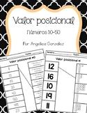 Valor posicional #10-50 (Place Value worksheets SPANISH)