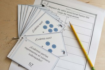Valor posicional: Nivel 1 (Spanish Place Value Review Task Cards: Level 1)