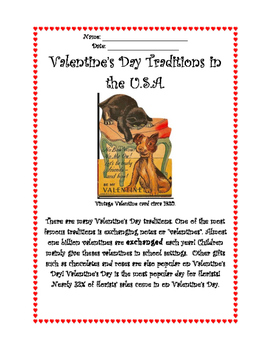Valentine Traditions- Nonfiction Reading Comprehension