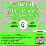 Parts of Speech Review: Valuable Sentences