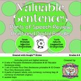 Valuable Sentences: Parts of Speech Review Print/Digital Bundle